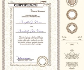 Certificate template and Decoration Borders design vector 03