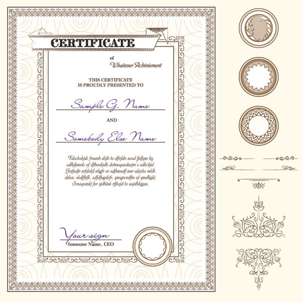 Certificate Template And Decoration Borders Design Vector 03  Certificate Borders Free Download