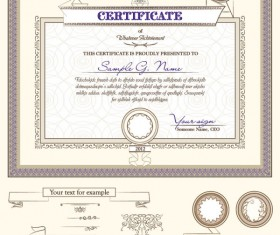 Certificate template and Decoration Borders design vector 04
