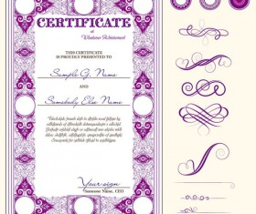 Certificate template and Decoration Borders design vector 05