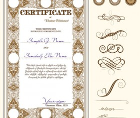 Certificate template and Decoration Borders design vector 06