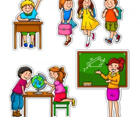 Set of Children in school design vector 04