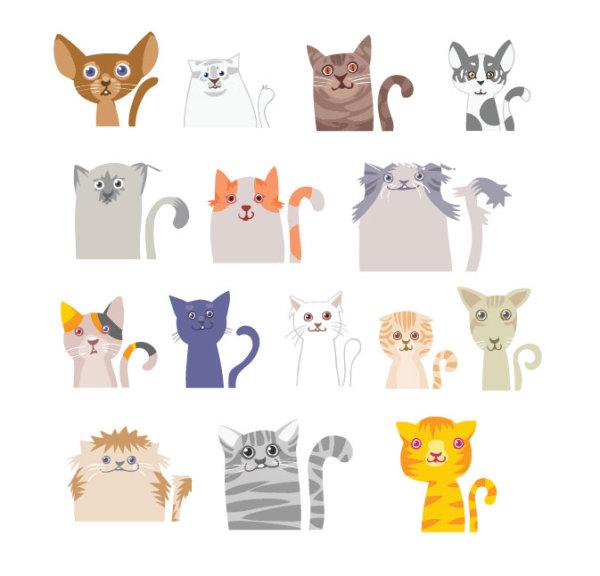 Different funny Cat desgin vector
