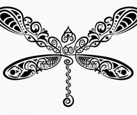 Hand drawn Dragonfly Decoration Pattern vector