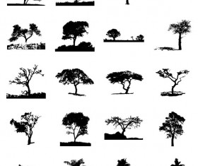 Different Trees Silhouettes vector 01