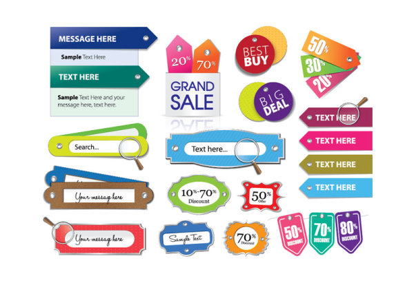 Various Stylish colorful Label stickers vector free download