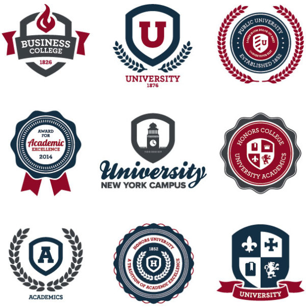 creative of school emblems vector 02 vector label free