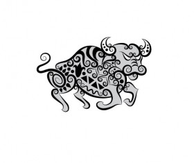 Hand drawn Cow Decoration Pattern vector