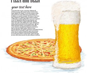 Pizza and Beer elements vector background
