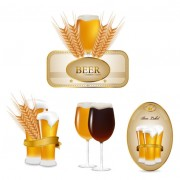 Link toSet of beer elements label vector graphic 01