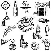 Link toSet of beer elements label vector graphic 02