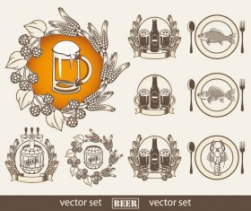 Set of beer elements label vector graphic 03