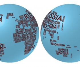 Elements of text with globe vector graphics 01