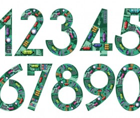 numeral with Circuit board vector