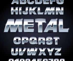 Shiny Metal Letters and numbers vector set 01