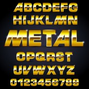 Link toShiny metal letters and numbers vector set 02
