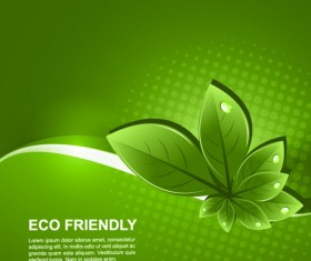 Set of Eco friendly with green Leaves background vector 01