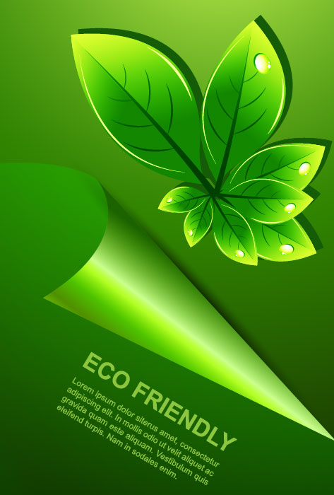 Set of Eco friendly with green Leaves background vector 02