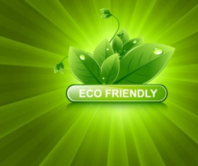 Set of Eco friendly with green Leaves background vector 03