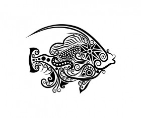 Vivid Hand drawn Fish Decoration Pattern vector