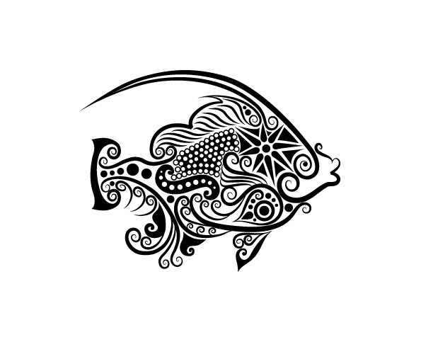 Line Drawings Of Animals Free Download : Vivid hand drawn fish decoration pattern vector