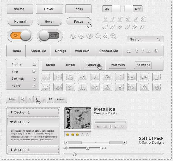 Set of web menu and Button PSD