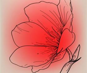 Vivid Hand drawn Tulip background vector 02