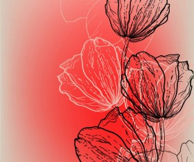 Vivid Hand drawn Tulip background vector 03