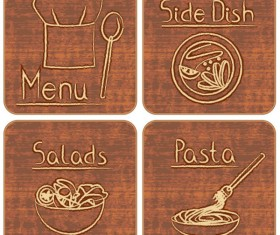 Different of Vintage food labels vector 02
