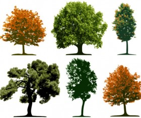 Different tree design elements vector 01