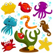 Link toElements of various cute marine animals vector 01