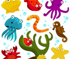 Elements of Various cute Marine animals vector 01