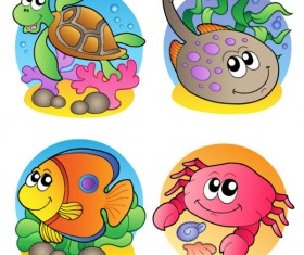 Elements of Various cute Marine animals vector 02