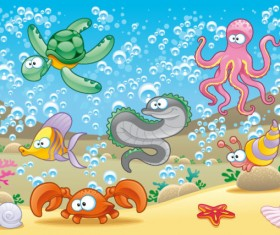 Elements of Various cute Marine animals vector 04