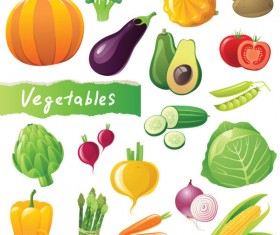 Different Fresh vegetables vector graphics 01