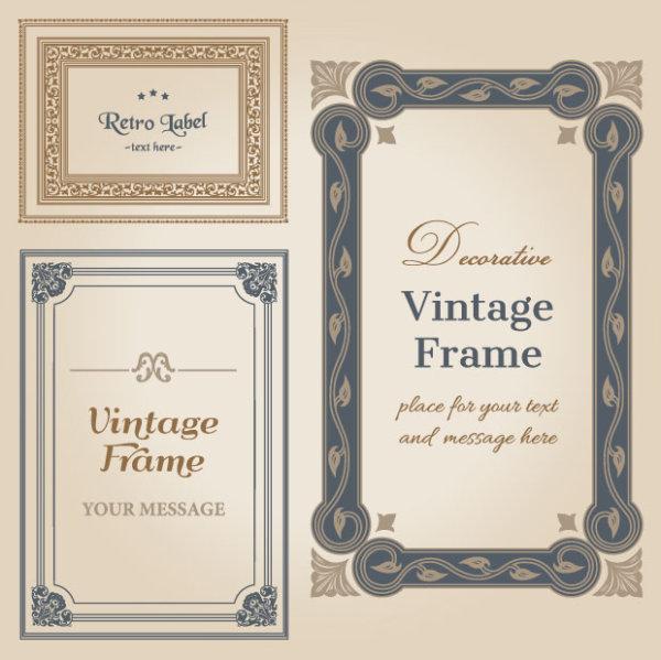 Set Of Decorative Vintage Frame Vector Graphics 03