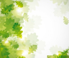green background with leaves vector 04
