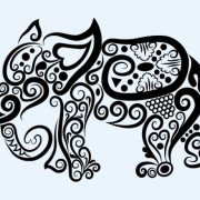 Link toHand drawn elephant decoration pattern vector