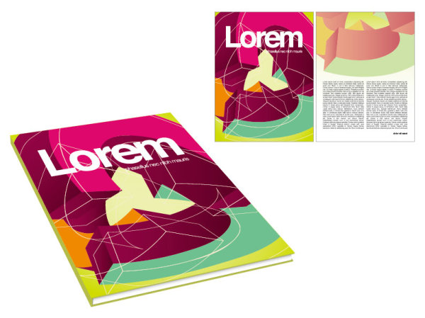 Book and magazine cover design elements vector graphics 01