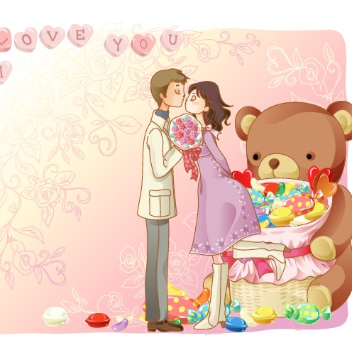 Elements of Romantic cartoon Lovers vector set 15