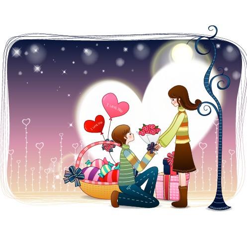 Elements of Romantic cartoon Lovers vector set 16