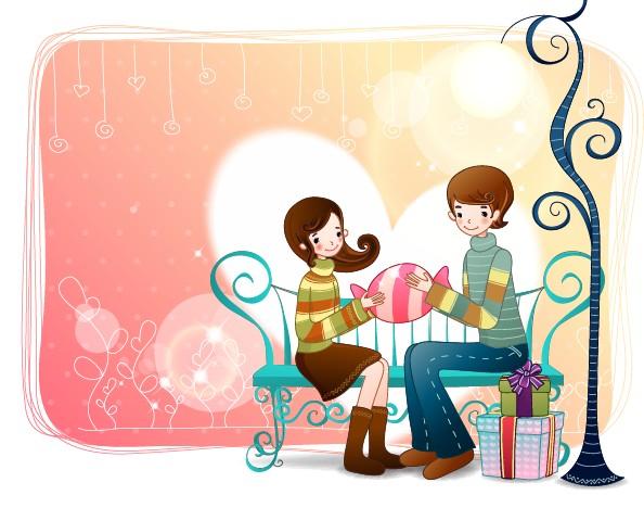 Elements of Romantic cartoon Lovers vector set 21
