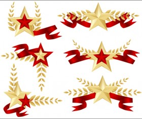 Festival elements of 23 february and stars design vector 03