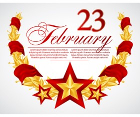 Festival elements of 23 february and stars design vector 04