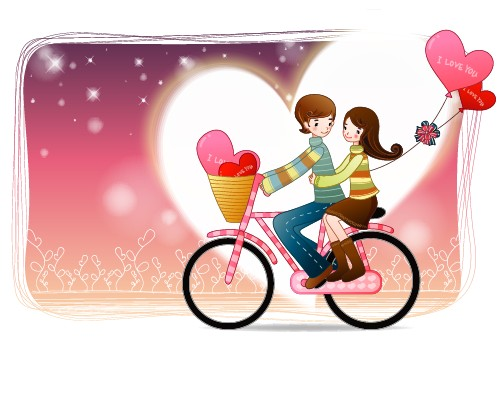 Elements of Romantic cartoon Lovers vector set 09