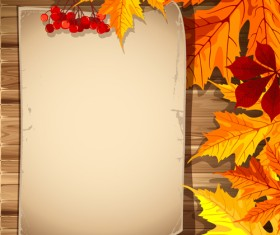 Autumn elements and gold leaves background vector 01