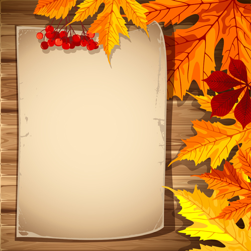 Autumn elements and gold leaves background vector 01 free ...