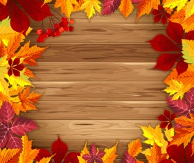 Autumn elements and gold leaves background vector 03