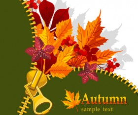 Autumn elements and gold leaves background vector 04
