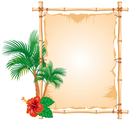 set of different of bamboo frame design vector 02 vector
